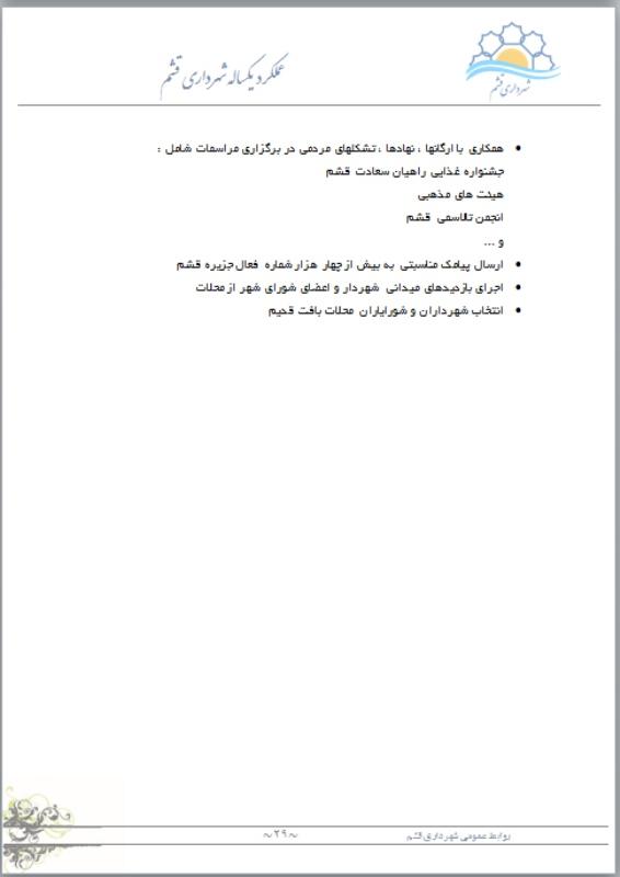 عملکرد شهرداری قشم 96