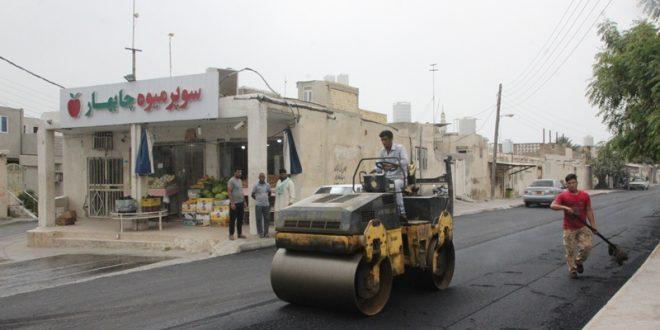 آسفالت معابر و کوچه های محله چابهار و چاه تنگو